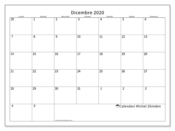 Dicembre Calendario 2020.Calendari Dicembre 2020 Ld Michel Zbinden It