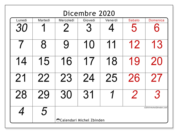 Calendario Da Stampare Dicembre 2020.Calendario Dicembre 2020 72ld Michel Zbinden It
