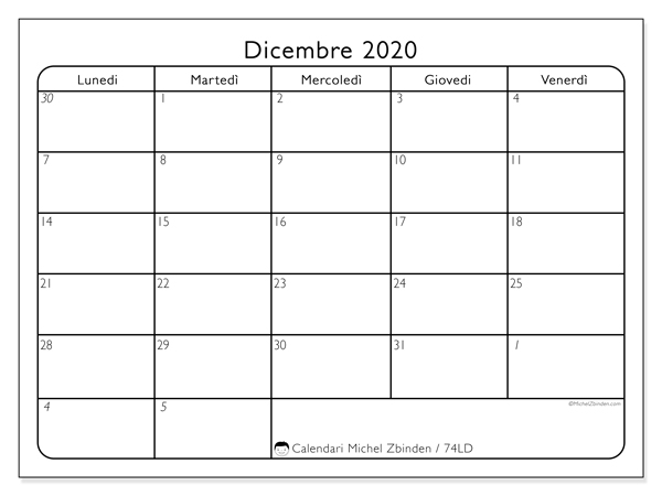 Calendario dicembre 2020, 74LD. Orario da stampare gratis.