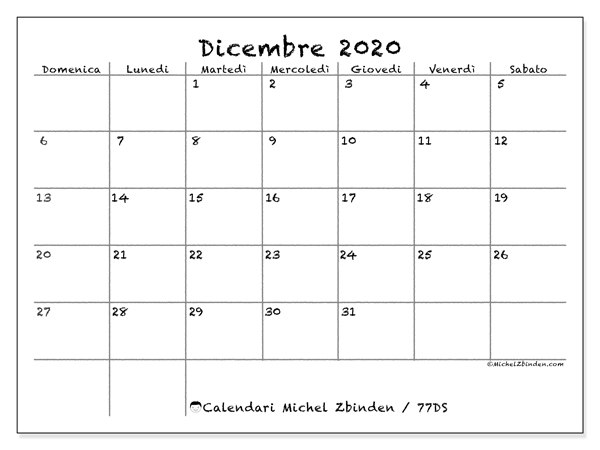 Calendario Da Stampare Dicembre 2020.Calendario Dicembre 2020 77ds Michel Zbinden It
