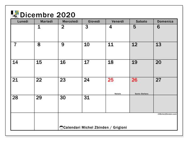 Calendari dicembre 2020, con giorini festivi del Cantone dei Grigioni. Calendario per il mese da stampare gratuitamente.