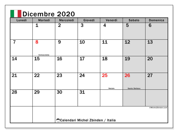 Calendario Da Stampare Dicembre 2020.Calendario Dicembre 2020 Italia Michel Zbinden It