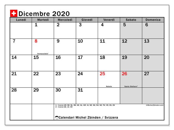 Calendario dicembre 2020, con giorni festivi della Svizzera. Calendario da stampare gratuita con giorni festivi.