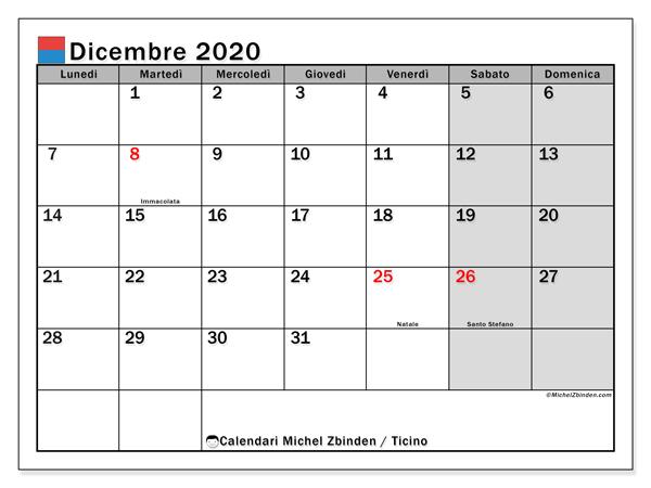 Calendari dicembre 2020, con giorini festivi in Ticino. Calendario stampabile gratuito.