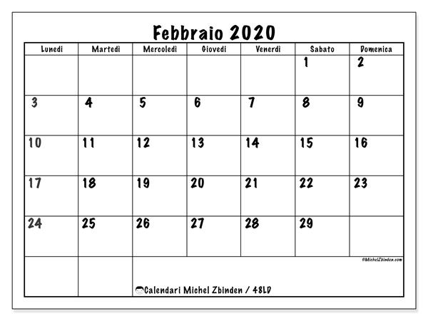 Calendario febbraio 2020, 48LD. Calendario per il mese da stampare gratuitamente.