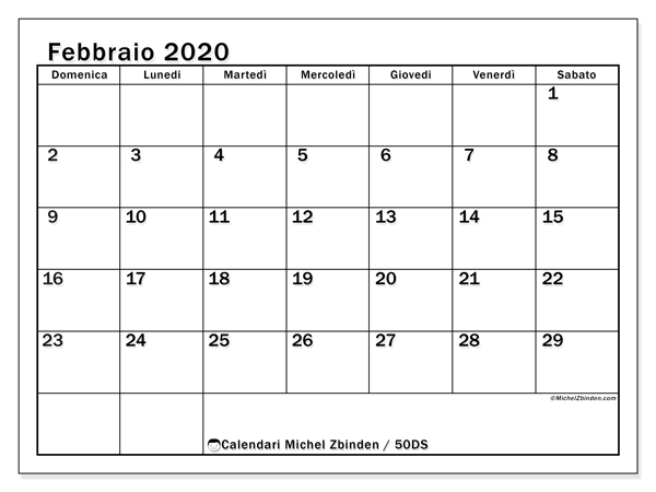 Calendario febbraio 2020, 50DS. Calendario per la stampa gratis.
