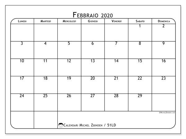 Calendario febbraio 2020, 51LD. Calendario da stampare gratis.