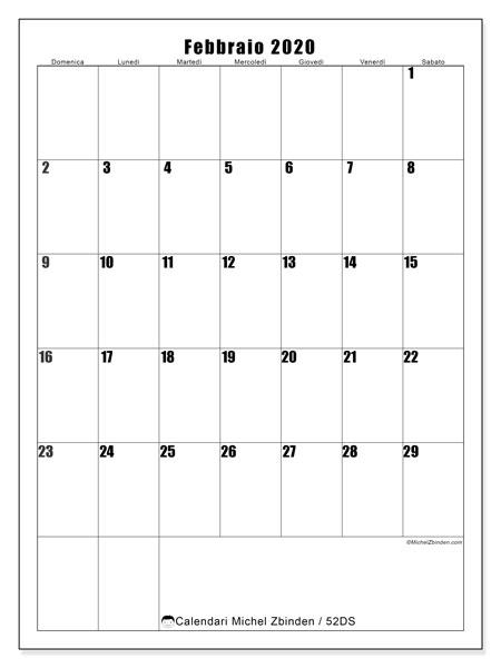Calendario febbraio 2020, 52DS. Calendario per il mese da stampare gratuitamente.