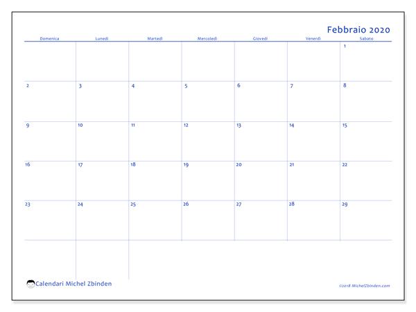 Calendario febbraio 2020, 55DS. Calendario per il mese da stampare gratuitamente.