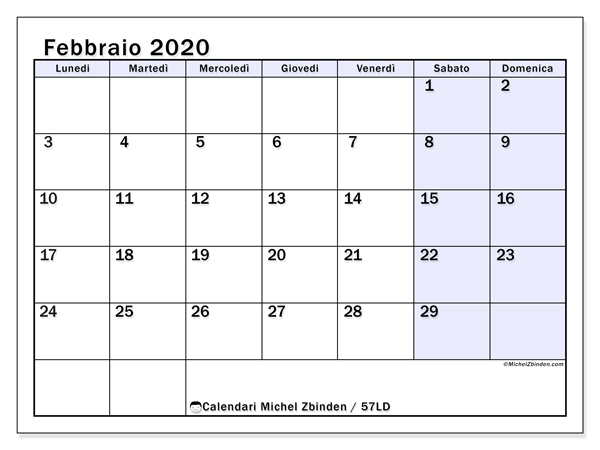 Calendario 2020 Da Stampare A4.Calendario Febbraio 2020 Da Stampare Calendario 2020
