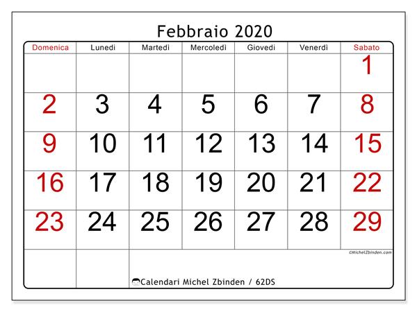 Calendario febbraio 2020, 62DS. Orario da stampare gratis.