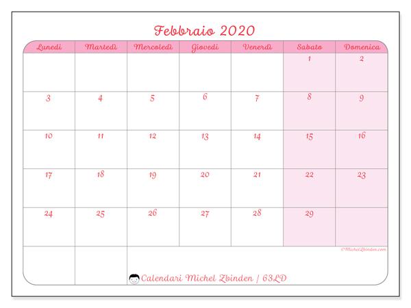 Calendario Gennaio 2020 Da Stampare.Calendario Febbraio 2020 Da Stampare Calendario 2020