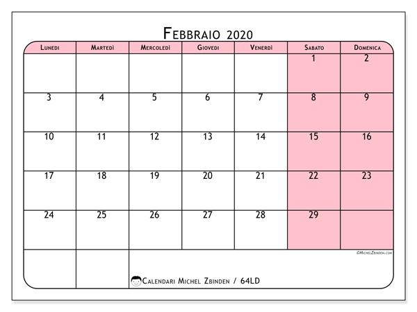 Calendario febbraio 2020, 64LD. Calendario da stampare gratis.