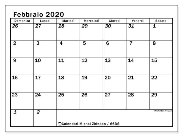 Calendario febbraio 2020, 66DS. Calendario da stampare gratis.