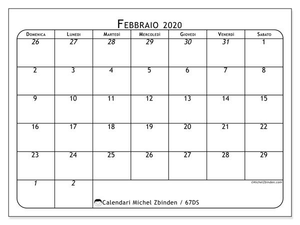 Febbraio Calendario 2020.Calendario Febbraio 2020 67ds Michel Zbinden It