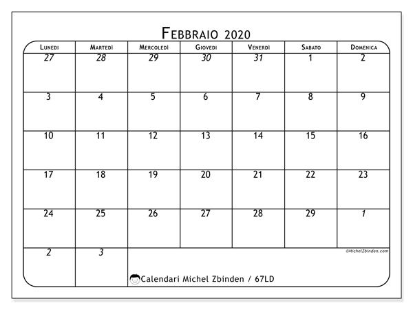 Calendario 2020 Mensile Da Stampare.Calendario Febbraio 2020 67ld Michel Zbinden It