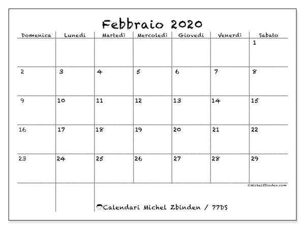 Calendario febbraio 2020, 77DS. Calendario per la stampa gratis.