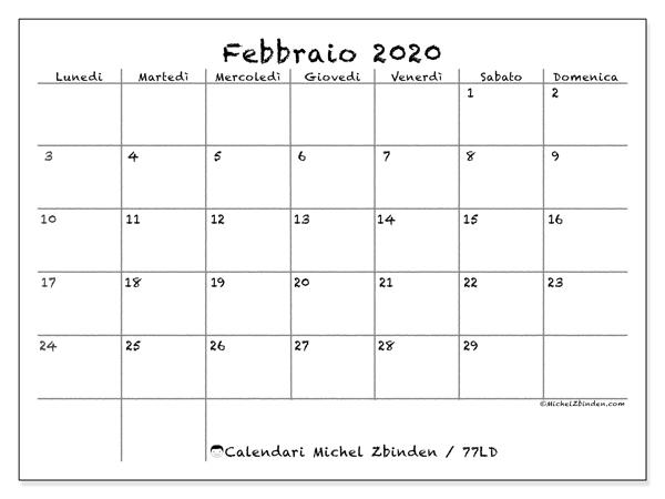 Calendario febbraio 2020, 77LD. Calendario gratuito da stampare.
