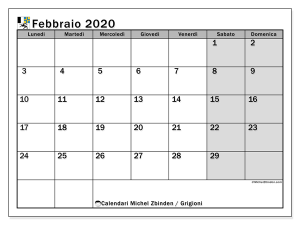 Calendario febbraio 2020, con giorni festivi dei Grigioni. Calendario da stampare gratuita con giorni festivi.