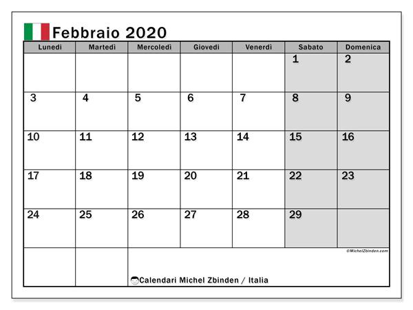 Calendario febbraio 2020, con giorni festivi in Italia. Calendario Vacanze e festività per stampare gratuitamente.
