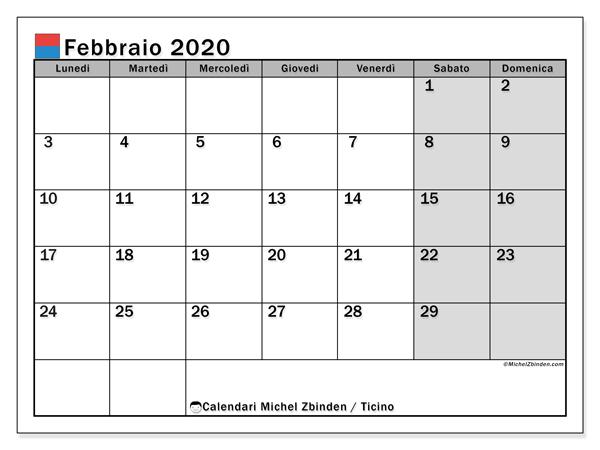 Calendario febbraio 2020, con giorni festivi in Ticino. Calendario Vacanze e festività per stampare gratuitamente.