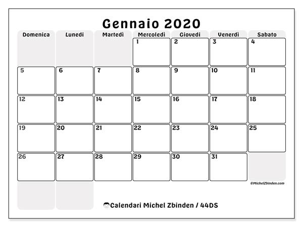 Calendario 2020 Pdf Stampabile.Calendario Gennaio 2020 44ds Michel Zbinden It