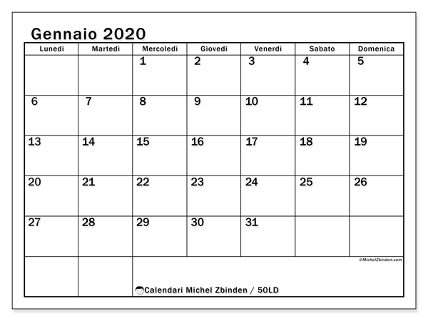 Calendario Mese Di Maggio 2020.Calendario Gennaio 2020 50ld Michel Zbinden It