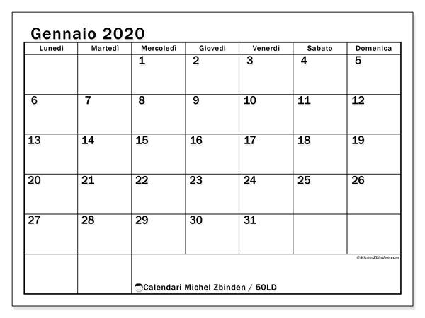 Calendario Gennaio 2020 Da Stampare.Calendario Gennaio 2020 50ld Michel Zbinden It