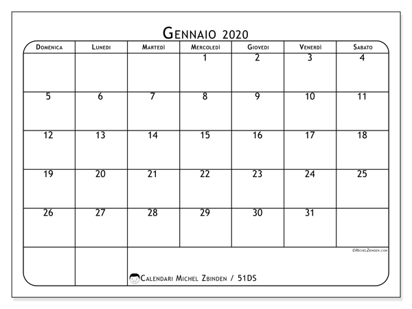 Calendario gennaio 2020, 51DS. Calendario per la stampa gratis.
