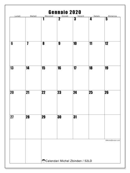 Calendario gennaio 2020, 52LD. Calendario da stampare gratis.