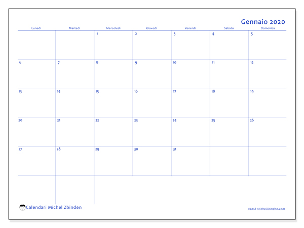 Calendario Gennaio 2020 Da Stampare.Calendario Gennaio 2020 55ld Michel Zbinden It