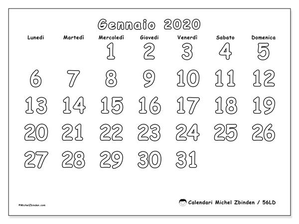 Calendario gennaio 2020, 56LD. Orario da stampare gratis.