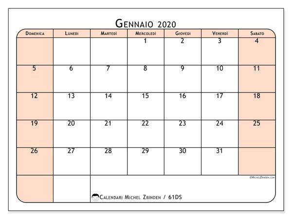 Calendario 2020 Settimanale Da Stampare.Calendario Gennaio 2020 61ds Michel Zbinden It