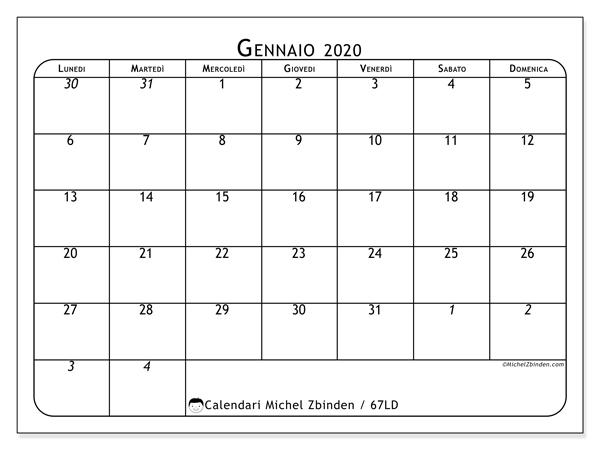 Calendario 2020 Da Stampare A4.Calendario Gennaio 2020 67ld Michel Zbinden It