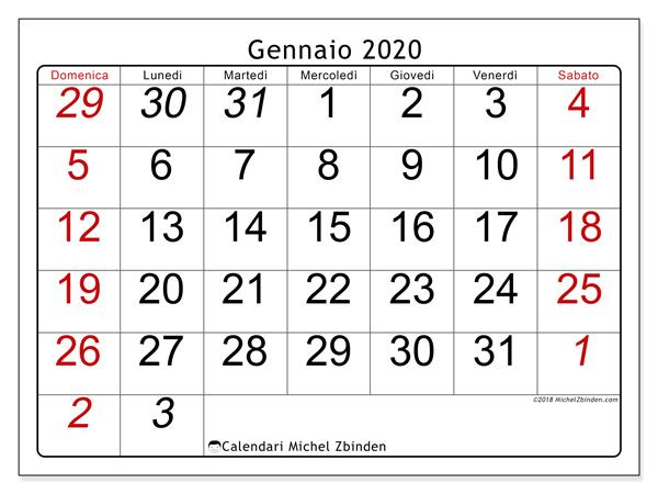 Calendario Gennaio 2020 72ds Michel Zbinden It