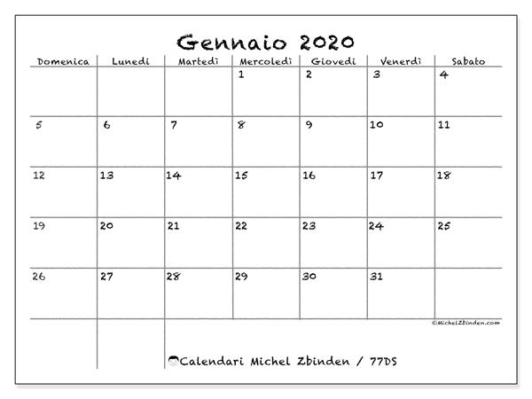 Calendario Gennaio 2020 77ds Michel Zbinden It