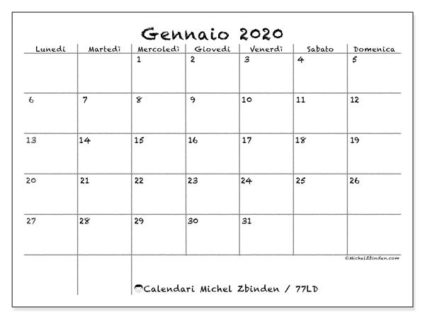 Calendario Gennaio 2020.Calendario Gennaio 2020 77ld Michel Zbinden It