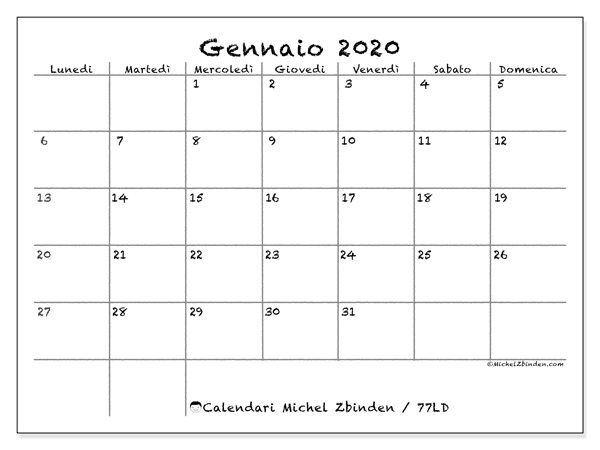 Calendario Gennaio 2020 Da Stampare.Calendario Gennaio 2020 77ld Michel Zbinden It