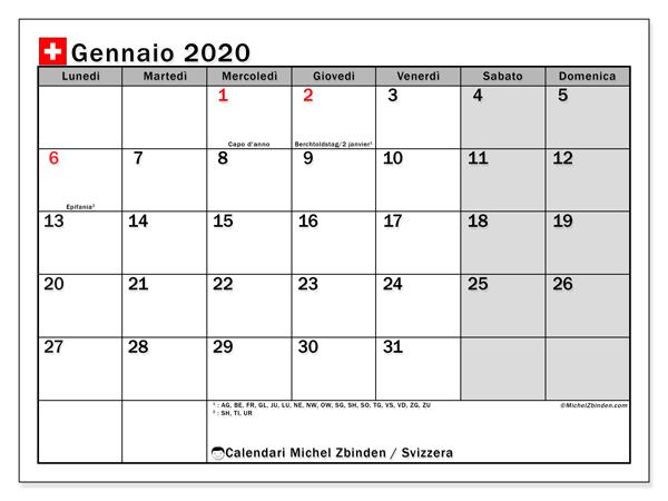 Calendario gennaio 2020, con giorni festivi della Svizzera. Calendario Vacanze e festività per stampare gratuitamente.