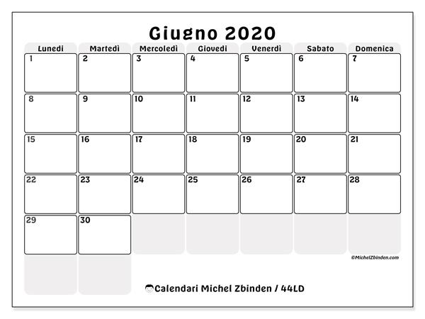 Calendario Maggio Giugno 2020.Calendario Giugno 2020 44ld Michel Zbinden It