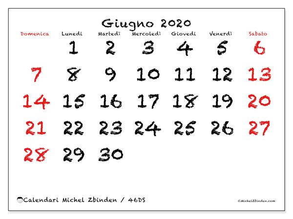 Calendario giugno 2020, 46DS. Calendario stampabile gratuito.