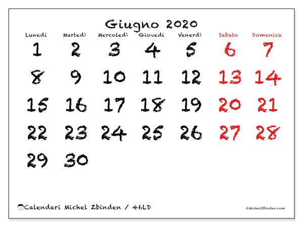 Calendario Mensile Giugno 2020.Calendario Giugno 2020 46ld Michel Zbinden It