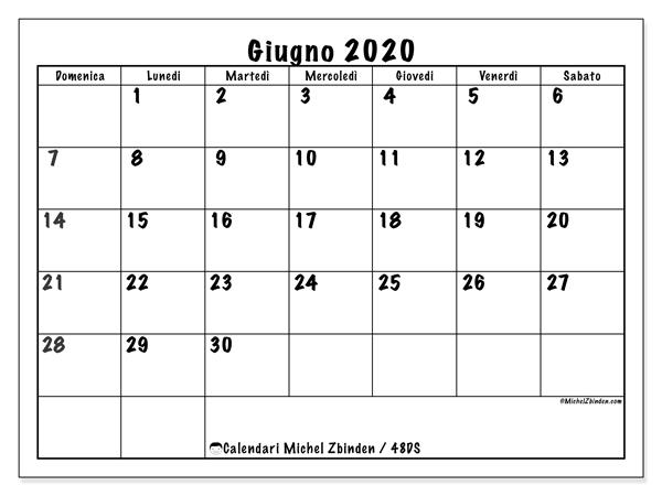 Calendario giugno 2020, 48DS. Calendario da stampare gratis.
