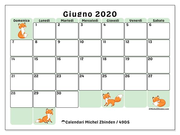 Calendario giugno 2020, 49DS. Orario da stampare gratis.