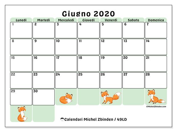 Calendario giugno 2020, 49LD. Calendario stampabile gratuito.