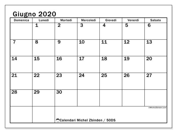 Calendario giugno 2020, 50DS. Calendario stampabile gratuito.