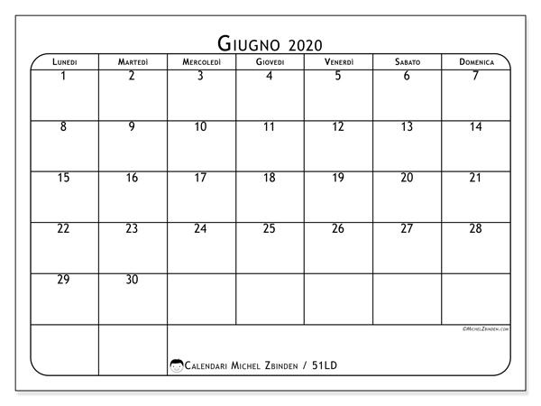 Calendario giugno 2020, 51LD. Calendario da stampare gratis.