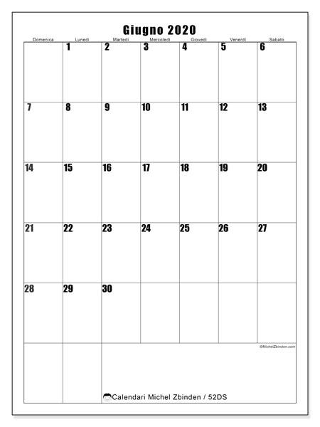Calendario giugno 2020, 52DS. Calendario per il mese da stampare gratuitamente.