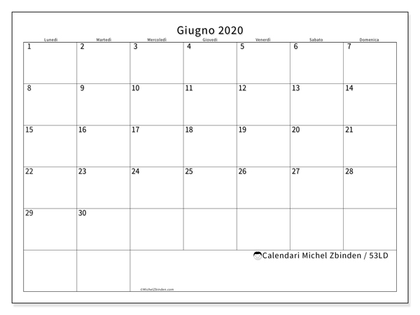 Calendario Mese Giugno 2020.Calendario Giugno 2020 53ld Michel Zbinden It