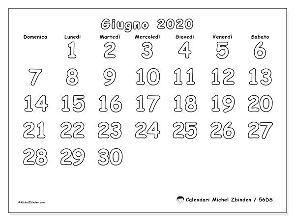 Calendario giugno 2020, 56DS. Calendario stampabile gratuito.